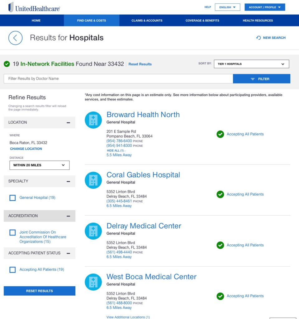 UHC list of Nearest Hospitals to Boca