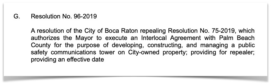 Resolution 96-2019 rescinding tower interlocal agreement