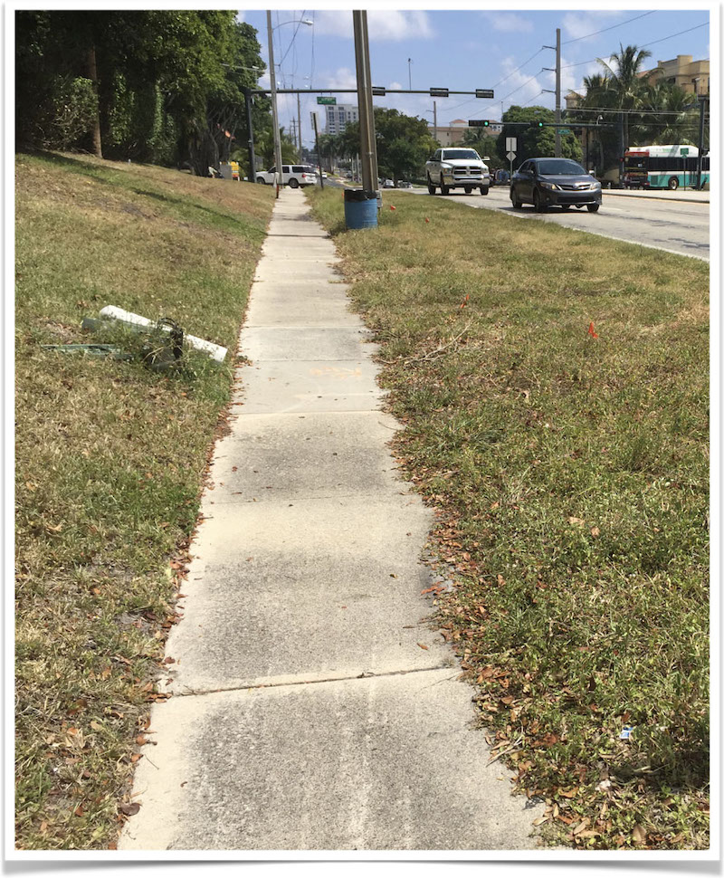 Eastbound Palmetto Pk Rd sidewalk approaching 4th Ave