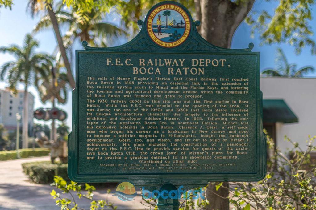 FEC Historical Sign at Boca Railway Depot on Dixie at Camino Real