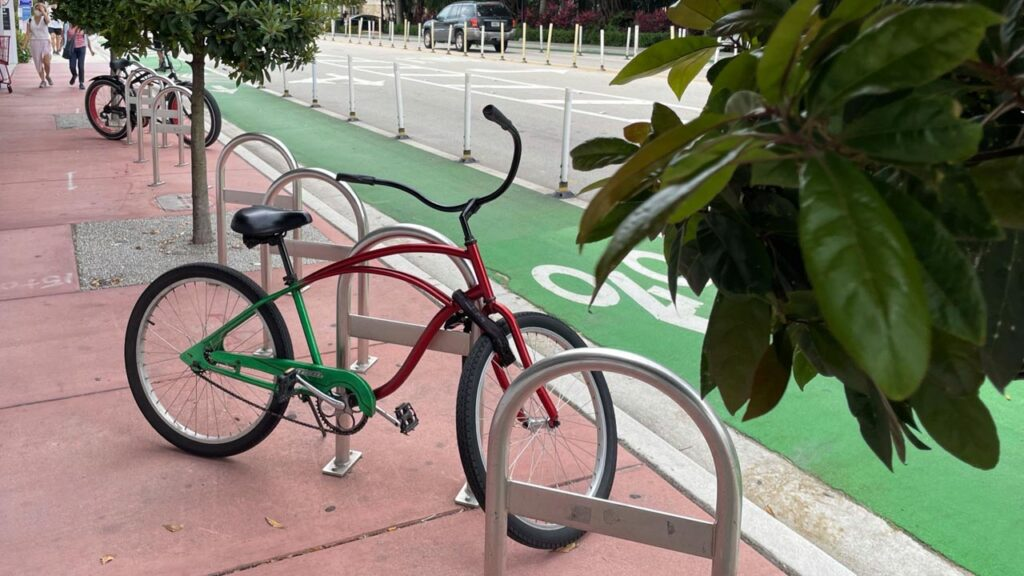 Protected bicycle lanes with convenient bicycle parking