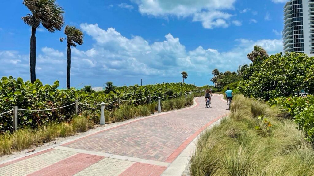 Wide, lighted shared-use path along the beach